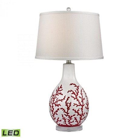 Dimond One Light White Textured Linen Shade Red With White Table Lamp