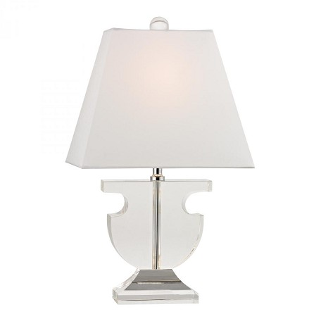 Dimond One Light Clear Pure White Fabric Shade Table Lamp