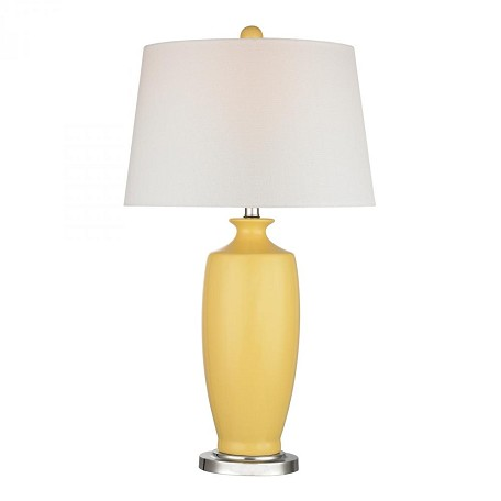 Dimond One Light White Linen Shade Sunshine Yellow Table Lamp