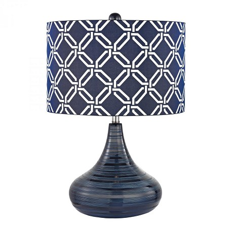 Dimond One Light Navy Blue Blue With White Pattern Print Silken Fabric Shade