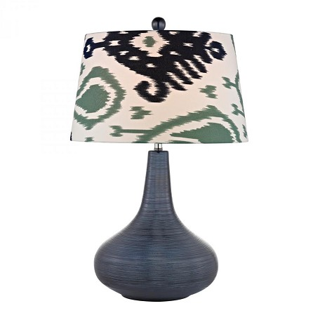 Dimond One Light Navy Blue White With Green/Blue Pattern Print Linen Shade Ta