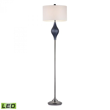 Dimond One Light White Linen Shade Navy Blue With Black Nickle Floor Lamp