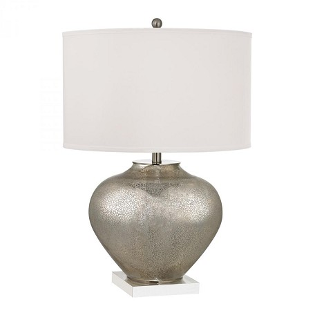 Dimond Three Light White Faux Silk Shade Antique Silver Mercury Glass With Cr