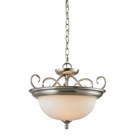 Elk Cornerstone Two Light Brushed Nickel White Glass Up Pendant