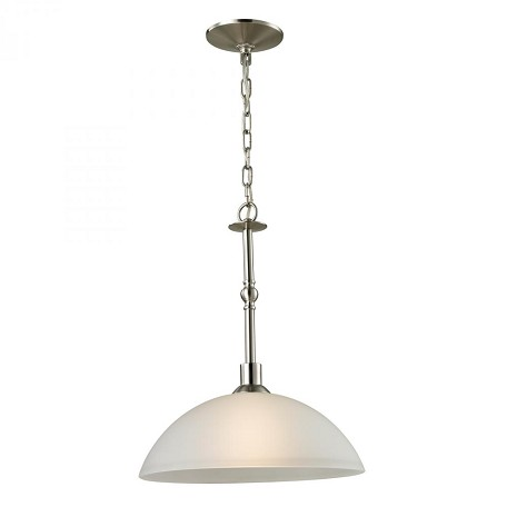 Elk Cornerstone One Light Brushed Nickel White Glass Down Pendant