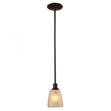 Elk Cornerstone One Light Oil Rubbed Bronze Light Amber Glass Down Mini Pendant