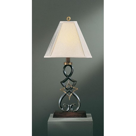 Minka Ambience Black Forest With Gold 1 Light 36In. Height Table Lamp With Cream Shade