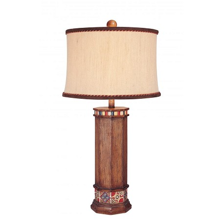 Minka Ambience Brown Wood Look 1 Light 31.5In. Height Table Lamp With Cream / Brown Shade