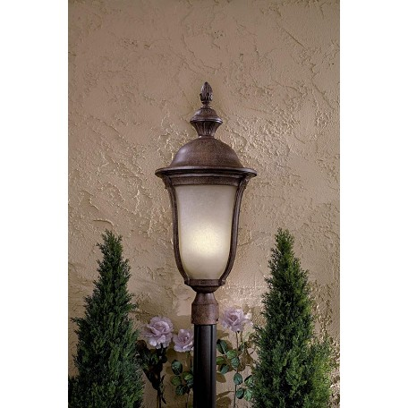 Minka Lavery 3 Light Outdoor Post Lamp With Rust Finish