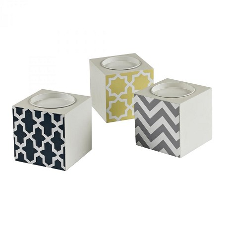 Sterling Industries Set Of 3 Chevron Print Candle Holders