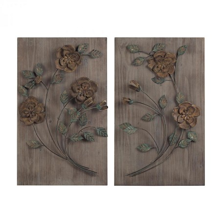 Sterling Industries Finningley-Set Of 2 Wooden Wall Panel With Handpainted Metal Flowers