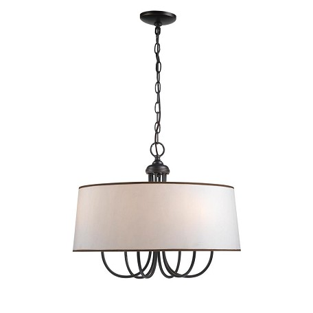 World Imports Six Light Bronze Drum Shade Chandelier