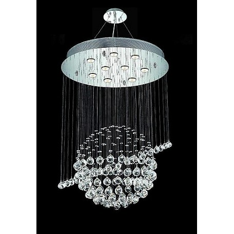 "Yongjunli Lighting Twilight Design 9 Light 26"" Chrome Pendant With Clear European Crystals"