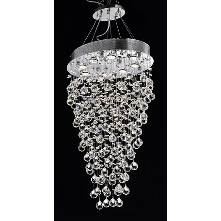 "Drops of Rain Design 8-Light 34"" Oval Pendant Chandelier with European or Swarovski Crystals SKU* 10273"