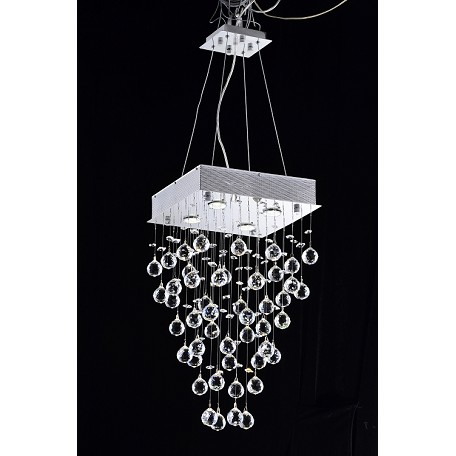"Drops of Rain Design 4-Light 24"" Square Pendant Chandelier Dressed with European or Swarovski Crystals SKU* 10280"