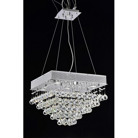"Drops of Rain Design 5-Light 16"" Square Ceiling Mount Dressed with European or Swarovski Crystals SKU* 10285"
