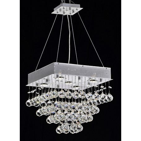 "Drops of Rain Design 5-Light 20"" Square Ceiling Mount Dressed with European or Swarovski Crystals SKU* 10286"