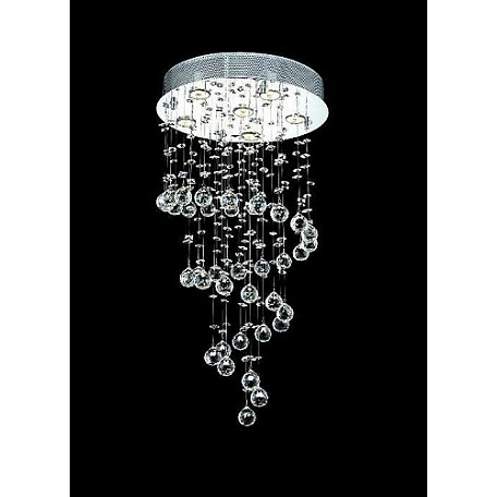 "Drops of Rain Design 6-Light 34"" Pendant Chandelier Dressed with European or Swarovski Crystals SKU# 10290"