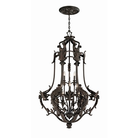 World Imports Twelve Light Bronze Open Frame Foyer Hall Fixture