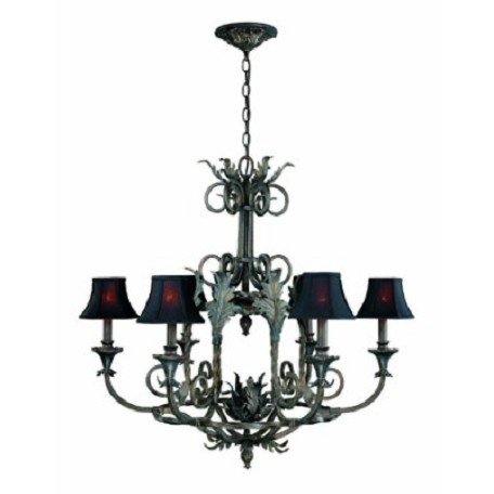 World Imports Six Light Bronze Up Chandelier
