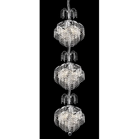"Helios Design 9-Light 53"" Chrome or Gold Entryway Pendant Chandelier with European or Swarovski Crystals SKU# 11115"