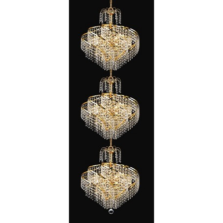 "Helios Design 24-Light 56"" Chrome or Gold Entryway Pendant Chandelier with European or Swarovski Crystals SKU# 11116"