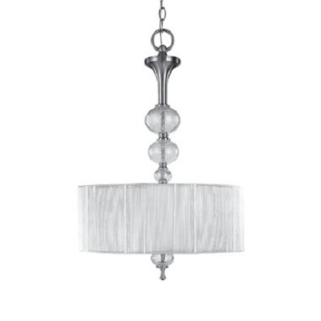 World Imports Three Light Nickel Drum Shade Pendant