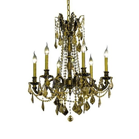 Chateau Design 6-Light 26'' Antique Brass or French Gold Chandelier with European or 30% Lead Crystals SKU# 11225
