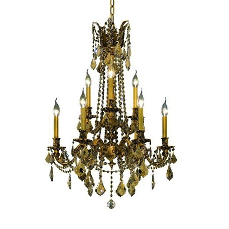 Chateau Design 9-Light 31'' French Gold or Antique Brass Chandelier with European or 30% Lead Crystals SKU# 11227