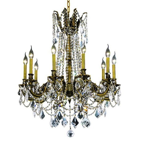 Chateau Design 10-Light 31'' Antique Brass or French Gold Chandelier with European 30% Lead Crystals SKU# 11228