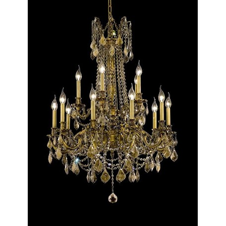 Chateau Design 15-Light 36'' French Gold or Antique Brass Chandelier with European or 30% Lead Crystals SKU# 11230