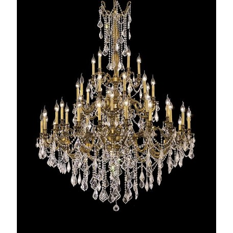 Chateau Design 45-Light 66'' French Gold or Antique Brass Chandelier with European or 30% Lead Crystals SKU# 11232