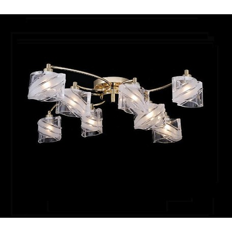 "IceBlox Design 8-Light 29"" Gold Flush Mount with Frosted or Colored Glass SKU# 10779"