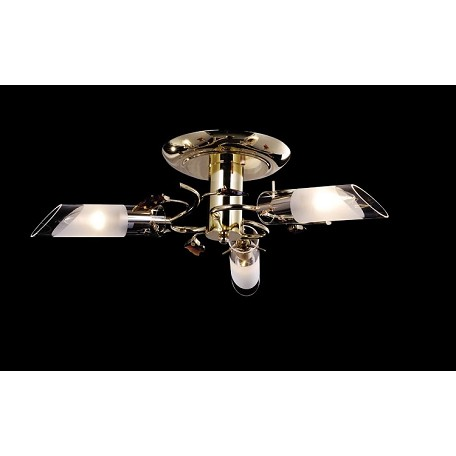 "Crystal Forest Design 3-Light 20"" Gold Crystal Ceiling Mount Fixture with Amber Crystals SKU# 10939"