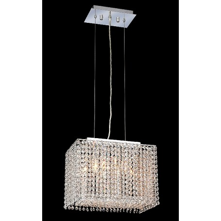 Krane Series 2-Light Chrome 14'' Rectangular Box Pendant Chandelier with European, Swarovski, or Colored Crystals SKU# 11272