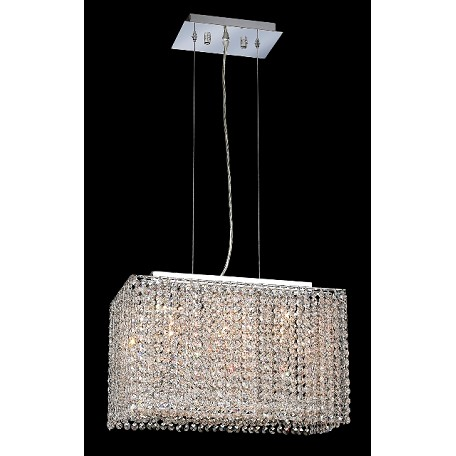 Krane Series 3-Light Chrome 18'' Rectangular Box Pendant Chandelier with European, 30% Lead , or Colored 30% Lead Crystals SKU# 11274