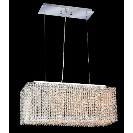 Krane Series 4-Light Chrome 26'' Rectangular Box Pendant Chandelier with European, Swarovski , or Colored Crystals SKU# 11248
