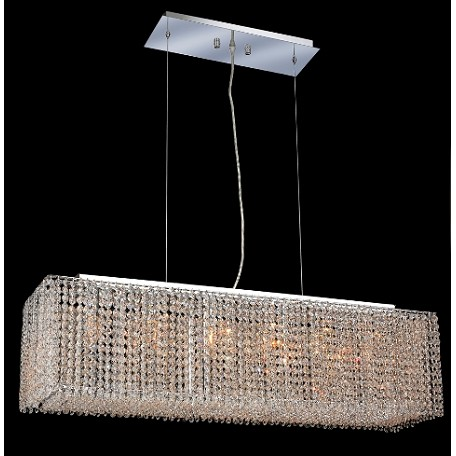 Krane Series 6-Light Chrome 38'' Rectangular Box Pendant Chandelier with European, Swarovski, or Colored Crystals SKU# 11282