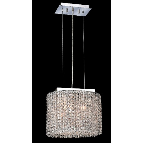 Krane Series 2-Light Chrome 14'' Cylindrical Oval Pendant Chandelier with European, Swarovski, or Colored Crystals SKU# 11265