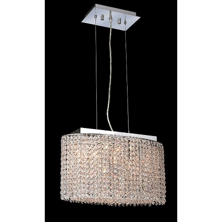 Krane Series 3-Light Chrome 18'' Cylindrical Oval Pendant Chandelier with European, 30% Lead , or Colored 30% Lead Crystals SKU# 11275