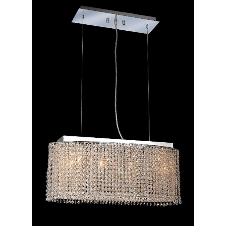 Krane Series 4-Light Chrome 26'' Cylindrical Oval Pendant Chandelier with European, Swarovski , or Colored Crystals SKU# 11245