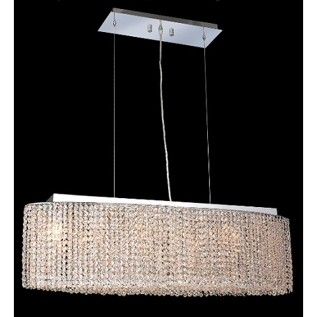 Krane Series 6-Light Chrome 38'' Cylindrical Oval Pendant Chandelier with European, 30% Lead , or Colored 30% Lead Crystals SKU# 11262