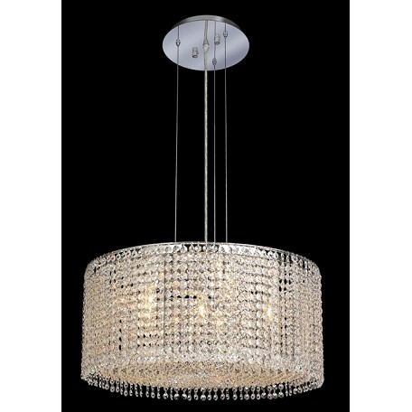 Krane Series 6-Light Chrome 22'' Round Pendant Chandelier with European, Swarovski, or Colored Crystals SKU# 11259