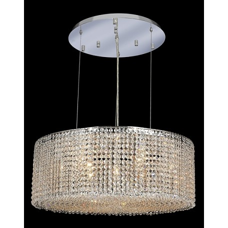 Krane Series 9-Light Chrome 26'' Round Pendant Chandelier with European, Swarovski , or Colored Crystals SKU# 11258
