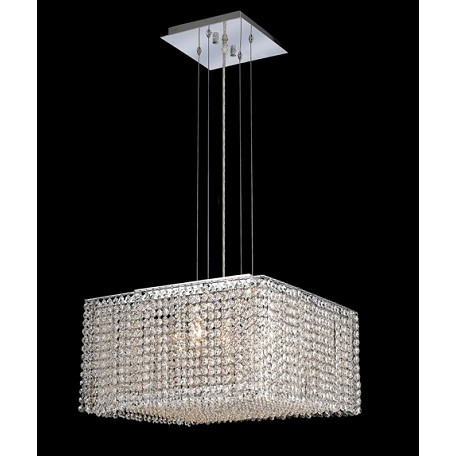 Krane Series 5-Light Chrome 18'' Square Box Pendant Chandelier with European,Swarovski, or Colored Crystals SKU# 11251