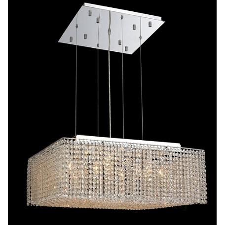"Krane Series 13-Light Chrome 26"" Square Box Pendant Chandelier with European, Swaovski, or Colored Crystals SKU# 11264"