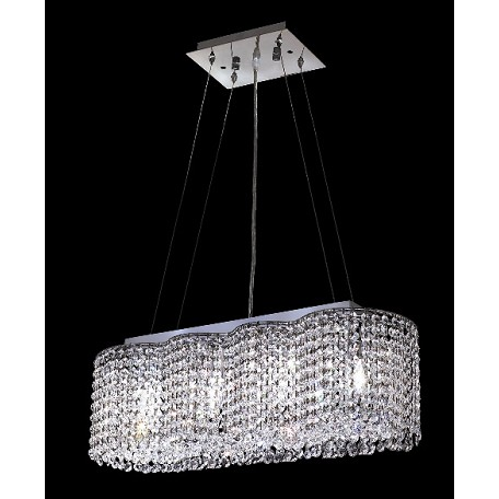 Krane Series 4-Light Chrome 24'' Oval Pendant Chandelier with European, Swarovski, or Colored Crystals SKU# 11263