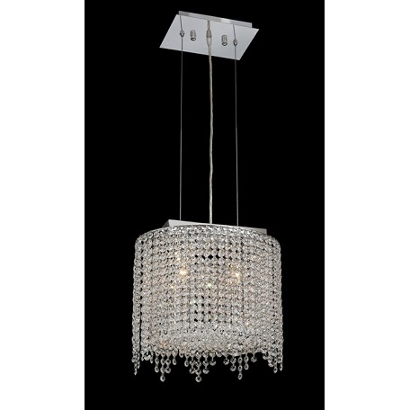 Krane Series 2-Light Chrome 14'' Cylindrical Oval Pendant Chandelier with European, 30% Lead , or Colored 30% Lead Crystals SKU# 11281
