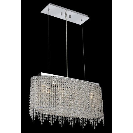 Krane Series 4-Light Chrome 26'' Cylindrical Oval Pendant Chandelier with European, 30% Lead , or Colored 30% Lead Crystals SKU# 11277