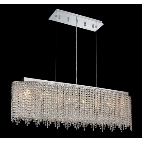 Krane Series 8-Light Chrome 46'' Cylindrical Oval Pendant Chandelier with European, 30% Lead , or Colored 30% Lead Crystals SKU# 11278